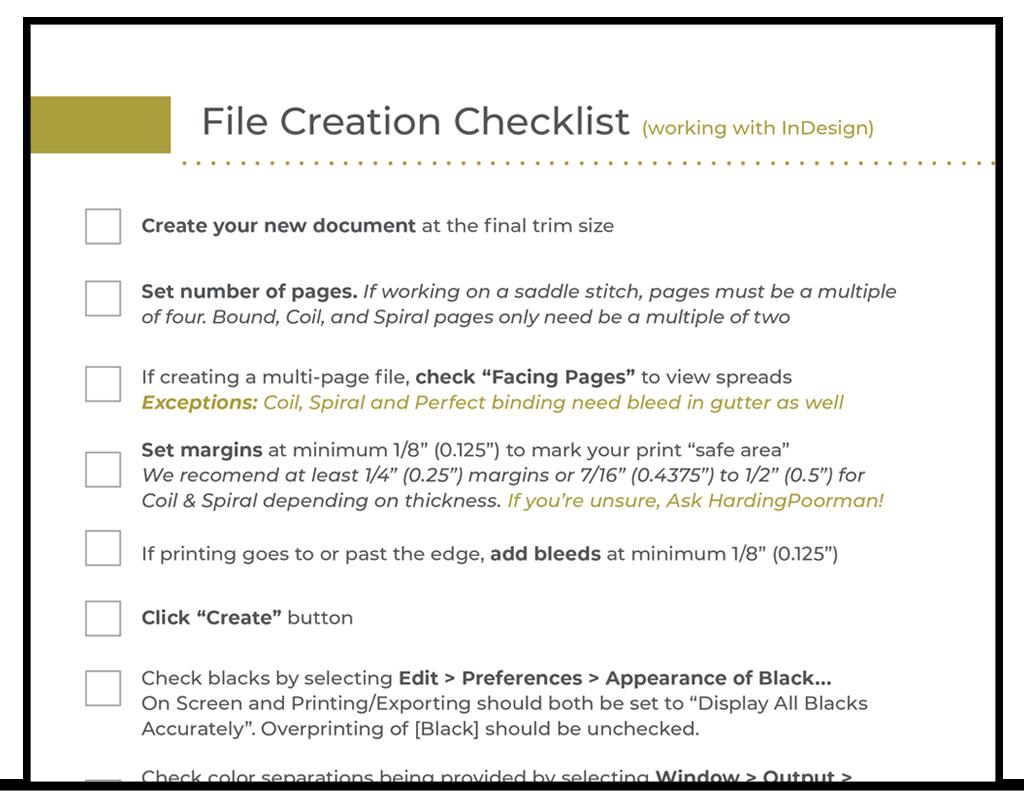 File Creation Checklist