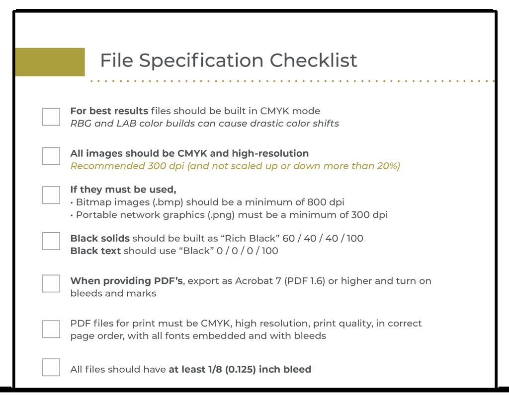 File Specs Checklist
